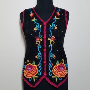 Vintage Boho Bead Embroidered Festival Vest Retro